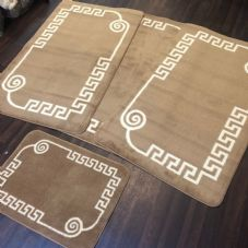 ROMANY WASHABLES GYPSY MATS 4PC SET SOFT GREEK DESIGN BEIGE NON SLIP RUGS NEW